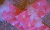 Image of PINK with WHITE HEARTS--Leg Warmers with Chiffon Ruffles