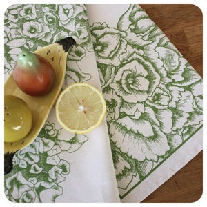Image of Tea-towel | Hyndrangea: Avocado