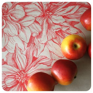 Image of Tea-towel | Dahlia: Raspberry