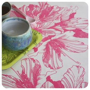 Image of Tea-towel | Rhododendron: Fuchsia