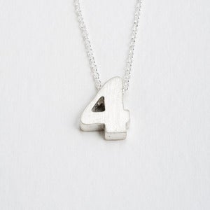 Image of sterling silver block number necklace