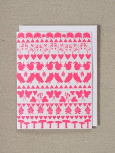 Image of Neon Pink Valentines card - Animals and botanicals in folk pattern -