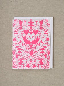 Image of Swans in Love - Hot Pink Doily