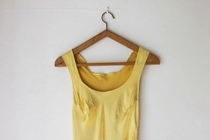 Image of 1930s yellow satin bias-cut dress (was £78)