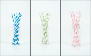 Image of 25 Striped Paper Straws