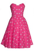 Image of £10 OFF! Pink Polka Dot 50s Inspired Swing Dress
