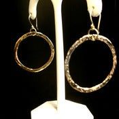Image of Hoop Earrings - Hand Forged Solid 14K 1.25 Inch Diameter