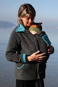 Image of Cali Calo Stella Fleece Babywearing Jacket - Anthracite/Turquoise
