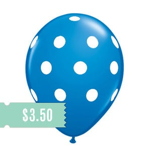 Image of 5 Blue Polka Dot Balloons