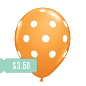 Image of 5 Orange Polka Dot Balloons
