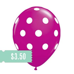 Image of 5 Wild Berry Polka Dot Balloons