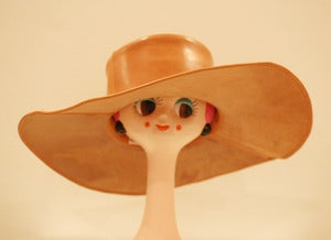 Image of Genuine Leather Tan Wide Brim Hat