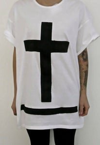 "Image of MAXI TEE ""GODLESS"" WHITE/BLACK"