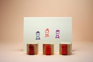 Image of Small Object The Peg People Rubber Stamp Set
