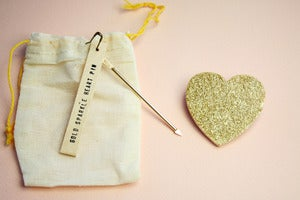 Image of Small Object Gold Glitter Heart Pin