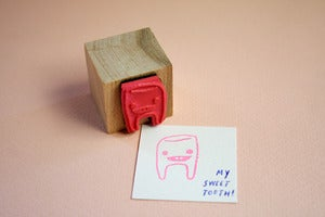 Image of Small Object Sweet Tooth Rubber Stamp