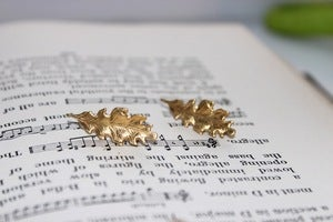 Image of Oak Leaf Gold Earrings