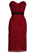 Image of Red Leopard Print Pin-up Wiggle Pencil dress
