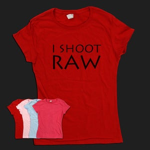 Image of I Shoot RAW - Ladies Tee (black text)