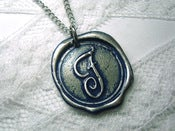 Image of Navy Blue Wax Seal Pendant Necklace by Ritzy Misfit