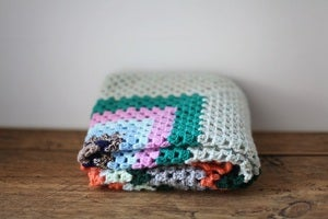 Image of 1970/80s crocheted coloured blanket #1 {SOLD}