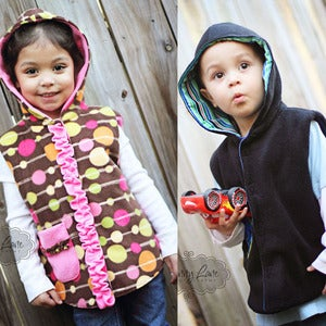 "Image of Fleece Hoodie Pattern - Reversible Hooded Vest pattern 1 to 8 years + 18"" doll"