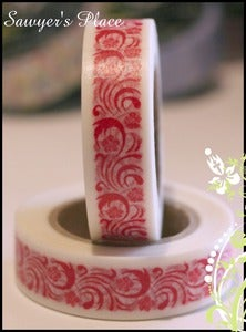 Image of Bianca Floral Scroll Washi Tape - Japanese Masking Tape - 15mm x 15m