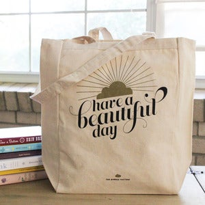 Image of &quot;Beautiful Day&quot; Metallic Printed Tote Bag