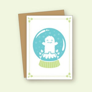 Image of Yeti Snowglobe Card - Set of Six