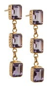 Image of  Kara Ackerman <i> Judie <i/> Emerald Cut 3 Drop Amethyst Earrings