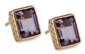 Image of Kara Ackerman <i> Judie <i/> Emerald Cut Amethyst Stud  Earrings