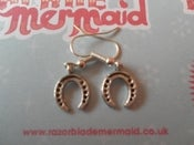 Image of Tiny Lucky Horshoe Silvertone Earrings