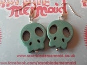 Image of Turquoise Sugar Skull Synthetic Howlite Stone Earrings