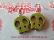 Image of Green Sugar Skull Synthetic Howlite Stone Earrings