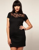 Image of ASOS CURVE Jersey Dress with high lace neck