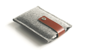 Image of iPhone/iPod Case - Grey Wool Felt and Brown Leather