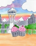 Image of &quot;Cuppie Love at The Space Needle&quot; by CakeSpy