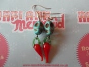 Image of Mexican Sugar Skull Day of the Dead Día de Muertos Chilli Pepper Earrings