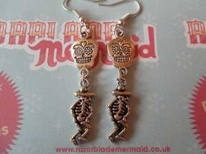 Image of Sugar Skull Day of the Dead Día de Muertos Dancing Mexican Skeleton Earrings