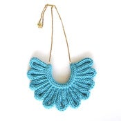 Image of Hawk Necklace, hand-knitted - Azure Blue