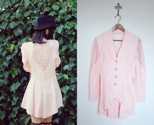 Image of vintage lace pink suit mini dress