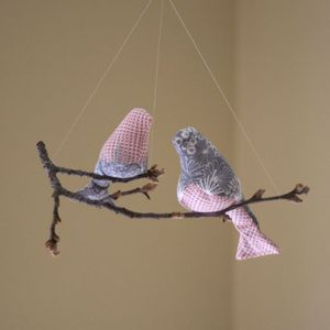 Image of Mommy &amp; Baby Bird Mobile in Pinks/Greys (One-of-a-Kind)