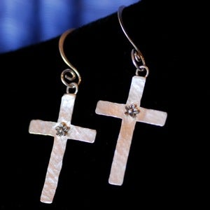 Image of Sterling Silver Cross Earrings