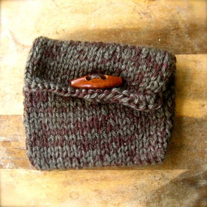Image of Plum Gray, Hemp and Yarn Knit Purse