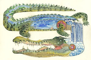 Image of Crocodile in the river - Print