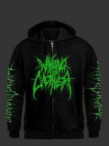 "Image of Waking The Cadaver "" Bodystack "" Green Zipper Hoodie"