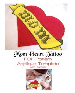 Image of Mom Heart Tattoo Applique Template