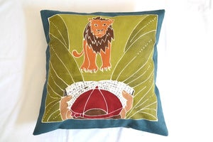 Image of Boys Safari Lion Surprise Handpainted kids cushion