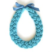 Image of Plait Necklace, hand-knitted - Azure Blue