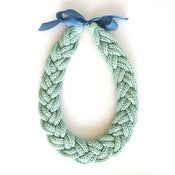 Image of Plait Necklace, hand-knitted - Sea Foam Green